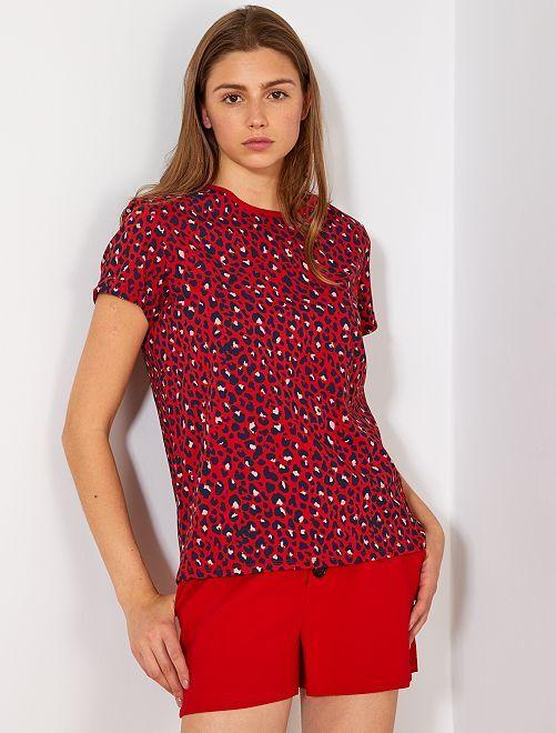 Camiseta de algodón orgánico                                                                                                                                                                                                     ROJO Mujer talla 34 a 48