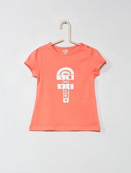 Camiseta de algodón orgánico                                                                                                                             ROSA Bebé niña