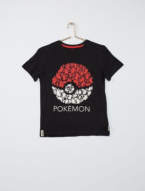Camiseta de algodón 'Pokemon'                             negro/gris
