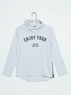 Camiseta de algodón puro con cuello chimenea