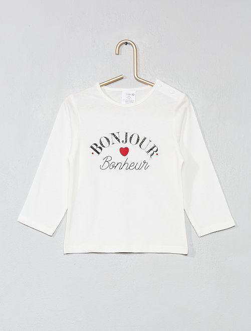 Camiseta de algodón puro con mensaje                                                     BLANCO Bebé niña