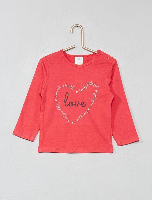 Camiseta de algodón puro con mensaje                                             ROSA Bebé niña