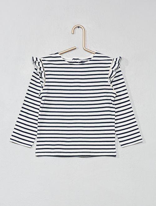 Camiseta de algodón puro con volantes                                 AZUL Bebé niña