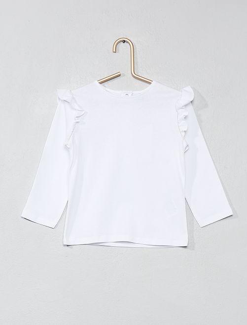 Camiseta de algodón puro con volantes                             blanco Bebé niña