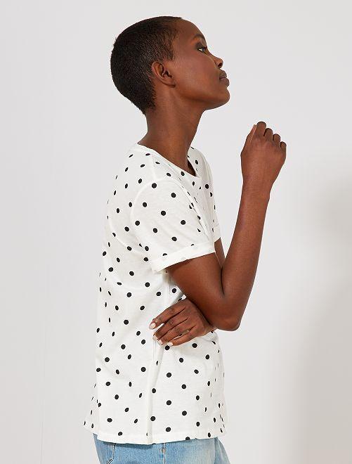 Camiseta de algodón puro de lunares                                                                                                                                                                                                                             BLANCO Mujer talla 34 a 48