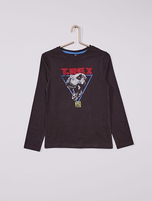 Camiseta de algodón puro 'Jurassic World'                                                     NEGRO
