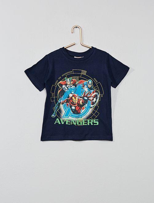Camiseta de algodón puro 'Los Vengadores' 'Marvel'                                         azul marino Chico