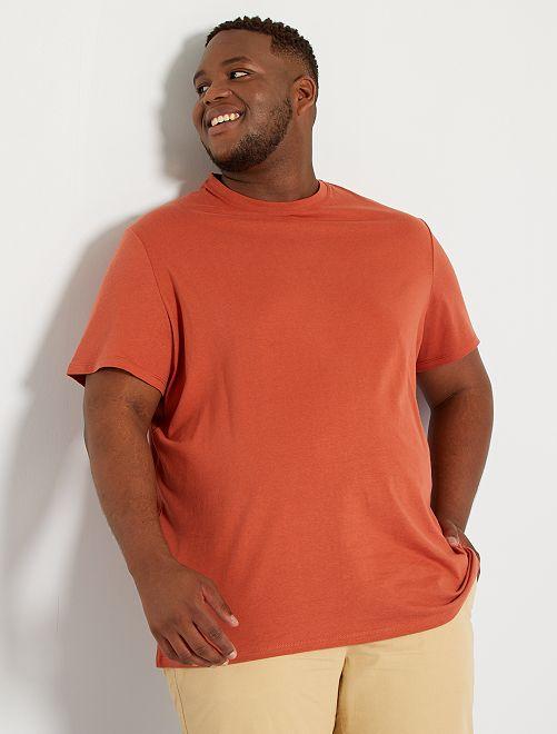 Camiseta de algodón puro                                                                                                                                                                 rojo teja