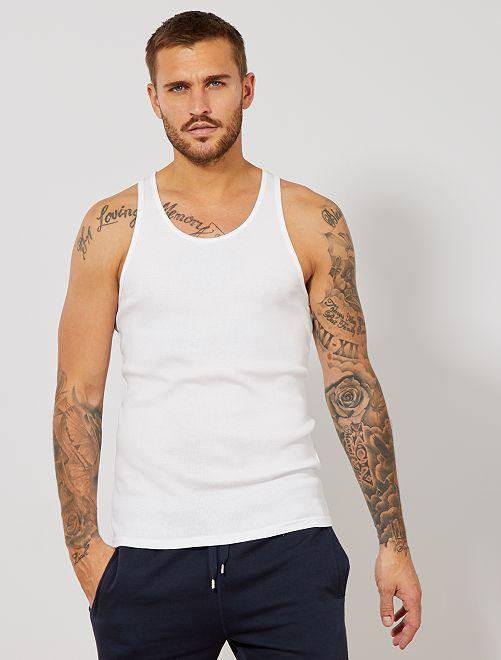 Camiseta de algodón sin mangas                                                                 blanco