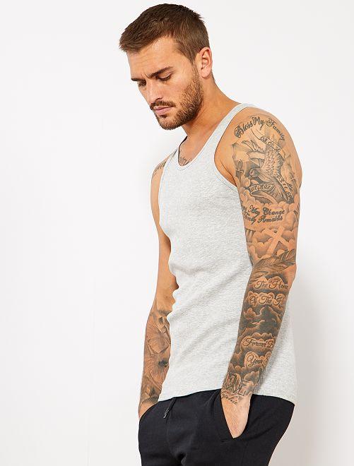 Camiseta de algodón sin mangas                                                     gris claro