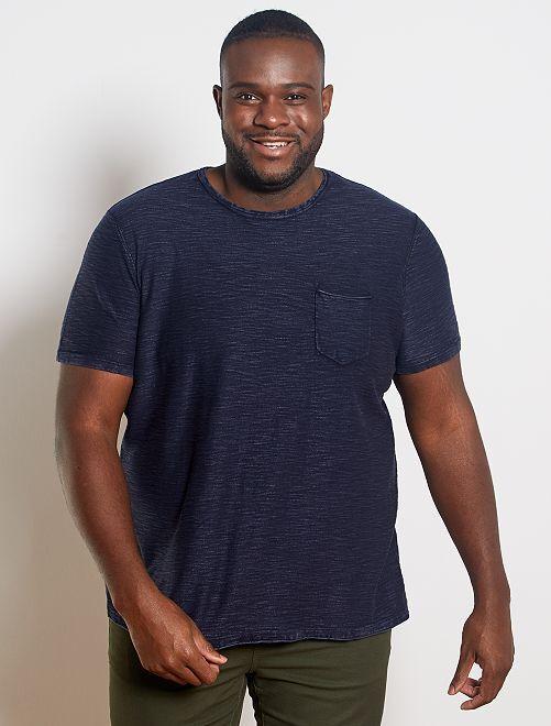 Camiseta de algodón texturizada                                         AZUL