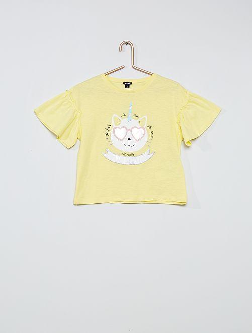 Camiseta de algodón 'unicornio'                                         AMARILLO