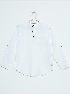 Camiseta de algodón y lino con cuello mao