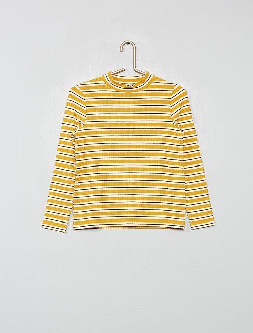 Camiseta de canalé a rayas                                         AMARILLO