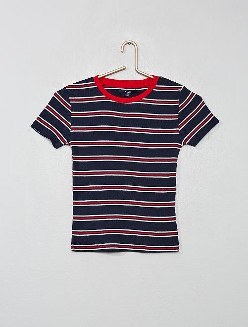 Camiseta de canalé                     AZUL