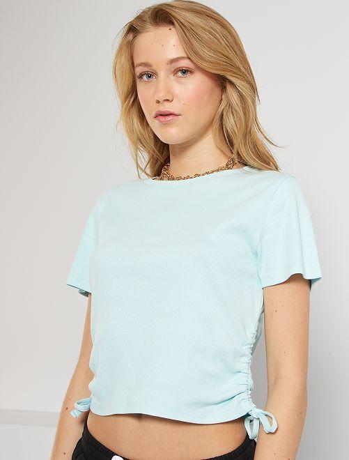 Camiseta de canalé                                 azul claro