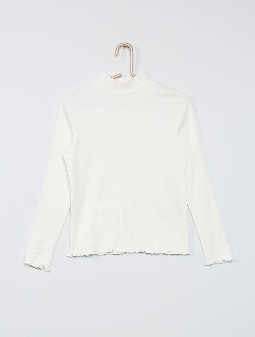 Camiseta de canalé                                                                             blanco nieve