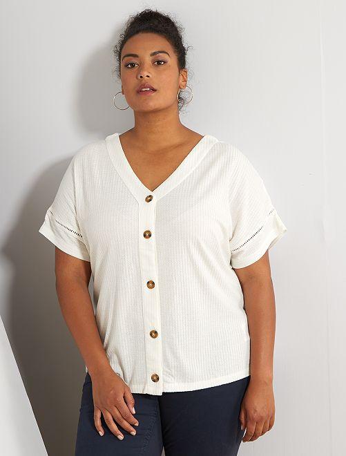 Camiseta de canalé con botones                                                     blanco nieve