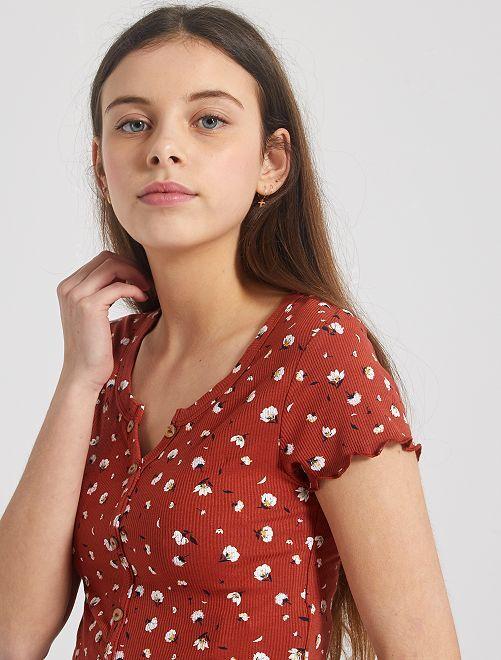 Camiseta de canalé con botones                                                     ROJO