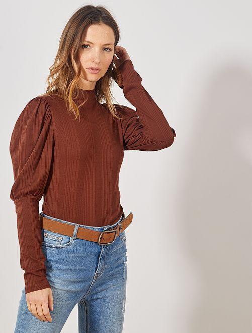 Camiseta de canalé con cuello alto                     MARRON