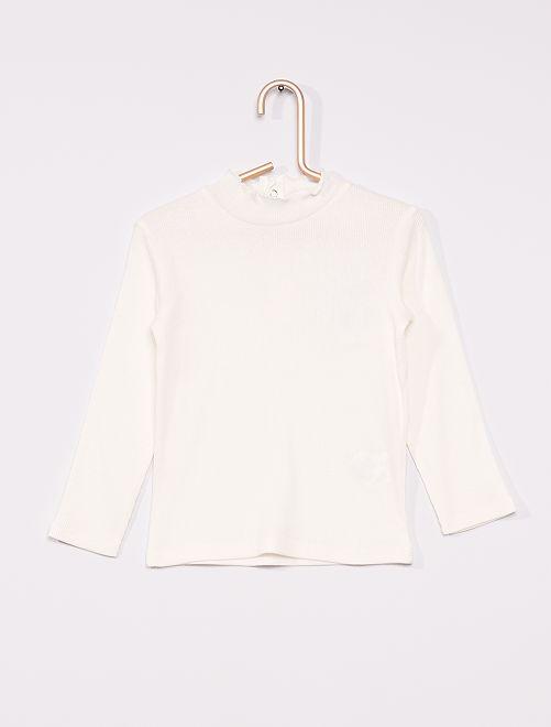Camiseta de canalé con cuello fruncido                                                                 blanco nieve