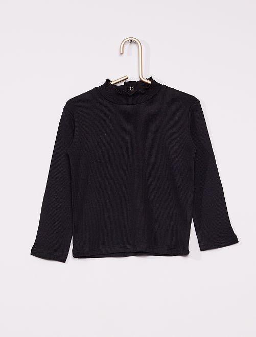 Camiseta de canalé con cuello fruncido                                                                 negro