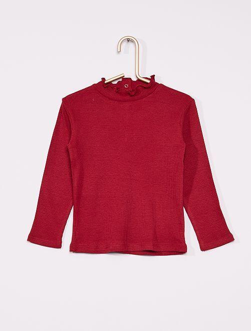 Camiseta de canalé con cuello fruncido                                                                 rojo burdeos