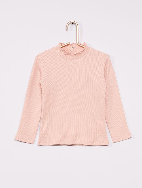 Camiseta de canalé con cuello fruncido                                                                 ROSA