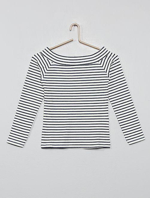 Camiseta de canalé con hombros descubiertos                                                                             BLANCO