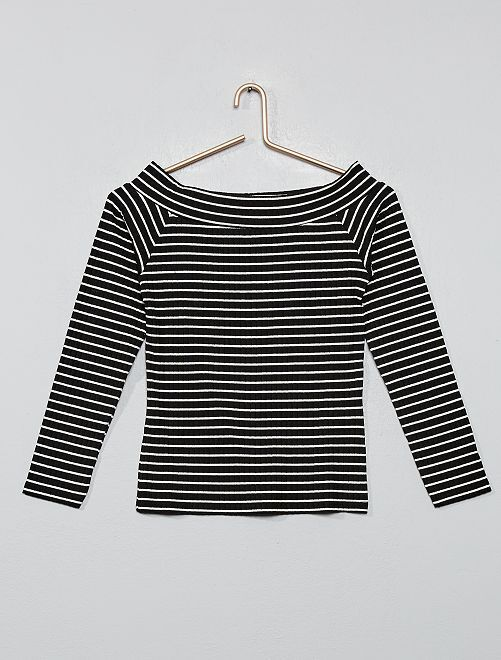 Camiseta de canalé con hombros descubiertos                     NEGRO
