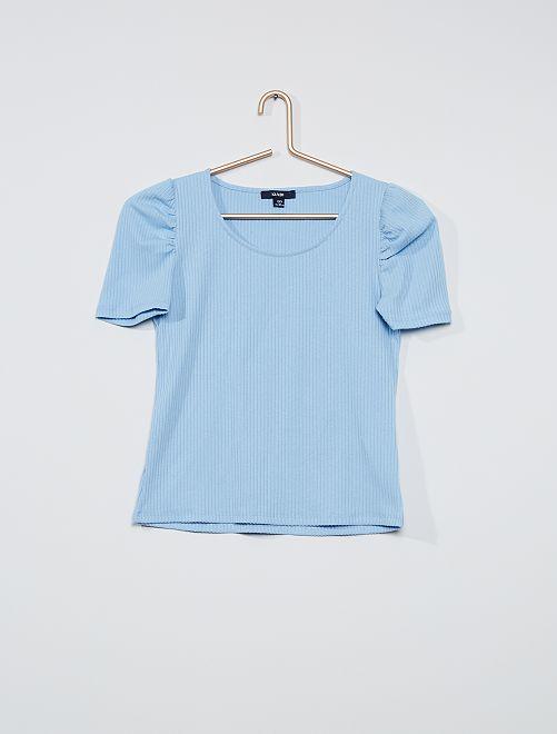 Camiseta de canalé con manga presunto                                         azul