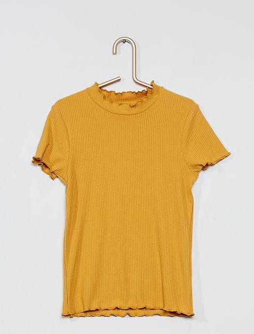 Camiseta de canalé con volantes                                         AMARILLO