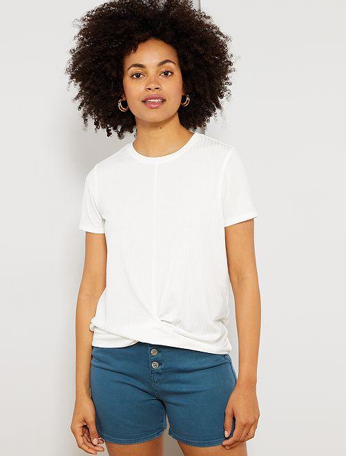 Camiseta de canalé de efecto anudado                                                     blanco nieve Mujer talla 34 a 48