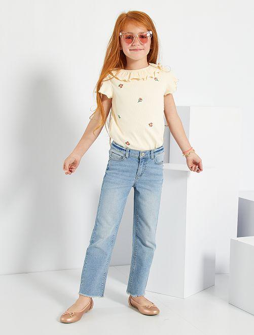 Camiseta de canalé de 'flores'                                         BLANCO