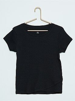 Niña 10-18 años Camiseta de canalé de manga corta