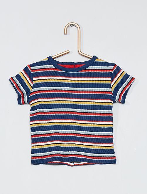 Camiseta de canalé multicolor                                         AZUL