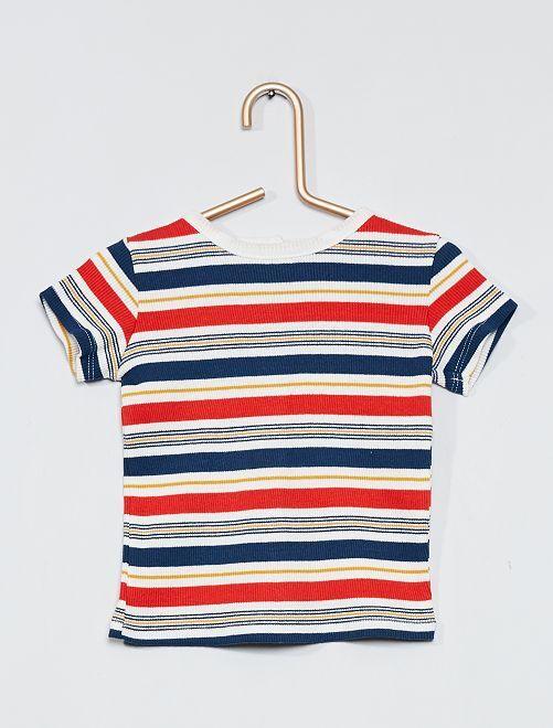 Camiseta de canalé multicolor                                         BLANCO