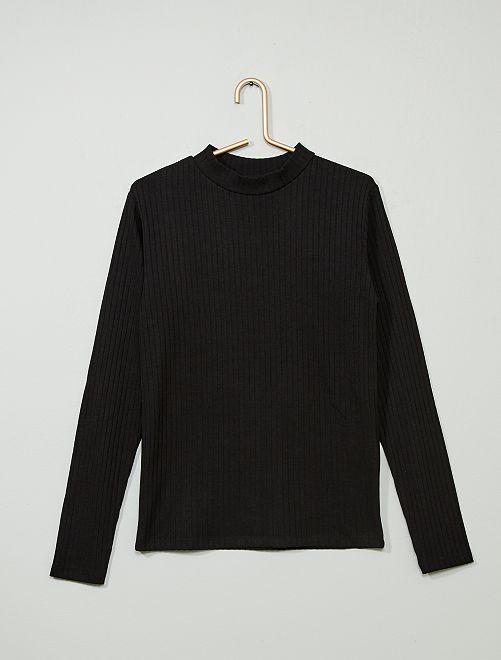 Camiseta de canalé                                                                             negro Joven niña