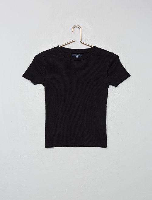 Camiseta de canalé                                                                                                                 negro