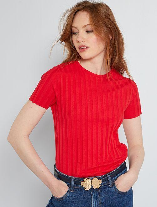 Camiseta de canalé                                         rojo