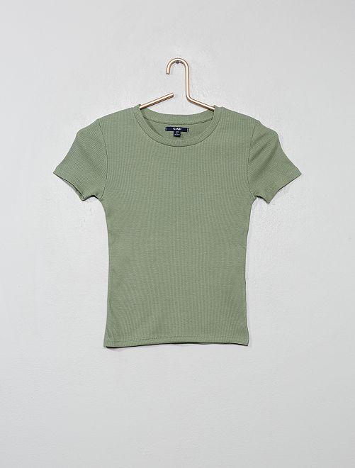 Camiseta de canalé                                                                             VERDE