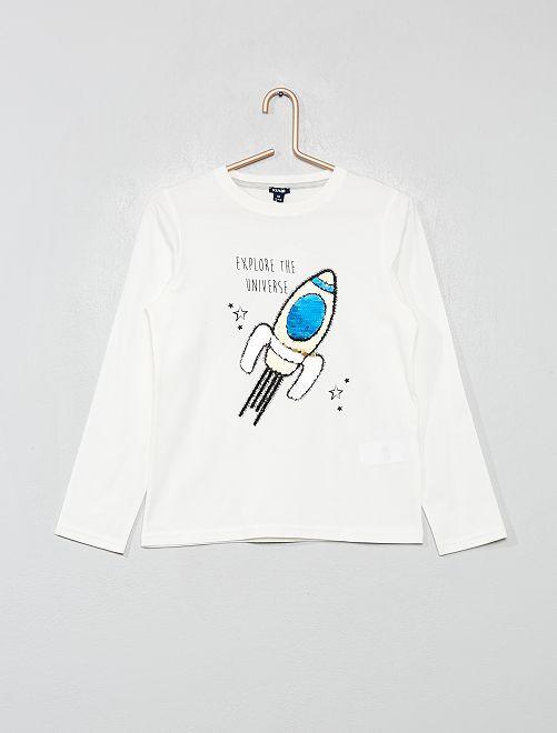 Camiseta de 'cohete' de lentejuelas reversibles                                                     BEIGE