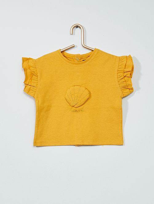 Camiseta de 'concha' con volantes                                         AMARILLO