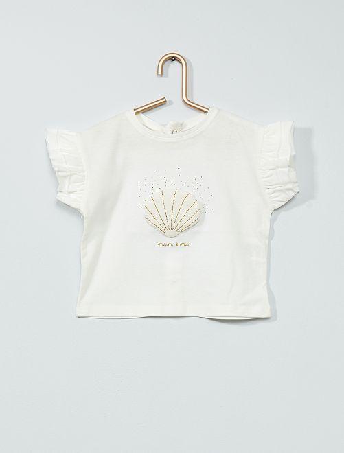 Camiseta de 'concha' con volantes                                         BLANCO