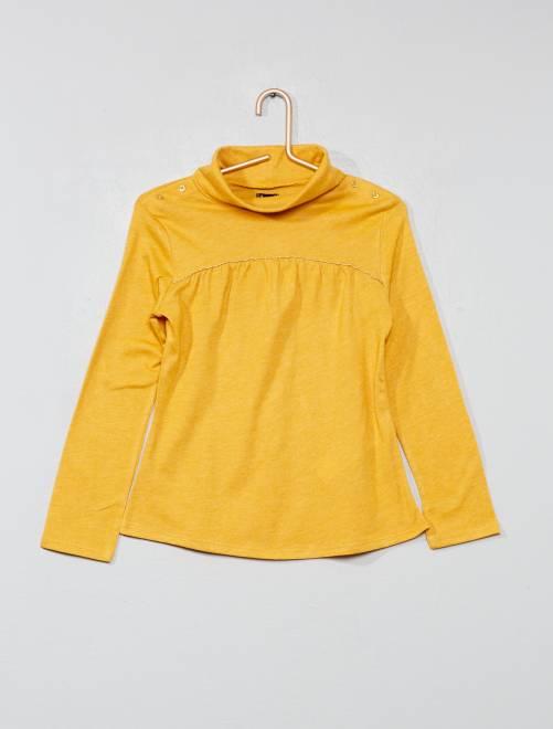 Camiseta de cuello alto con brillos                                         AMARILLO Chica