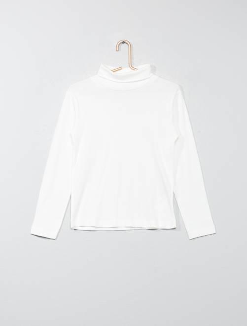 Camiseta de cuello alto de algodón puro                                                                             blanco nieve Chico