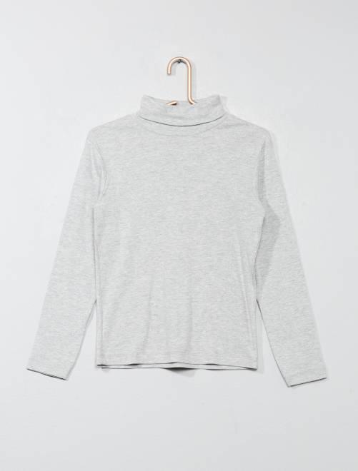 Camiseta de cuello alto de algodón puro                                                     GRIS Chico