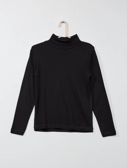 Camiseta de cuello alto de algodón puro                                                                             negro Chico