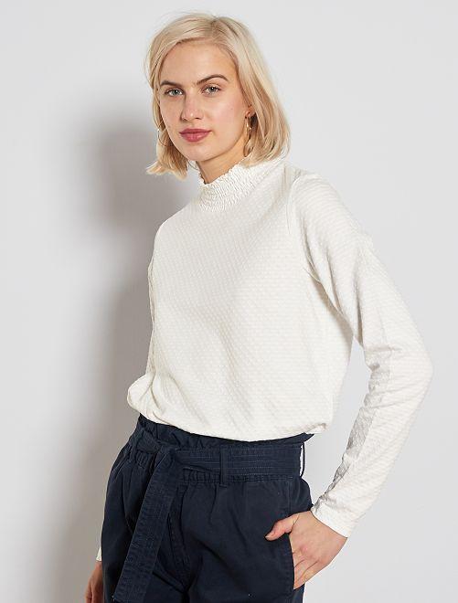 Camiseta de cuello alto de lunares                                                                             blanco nieve