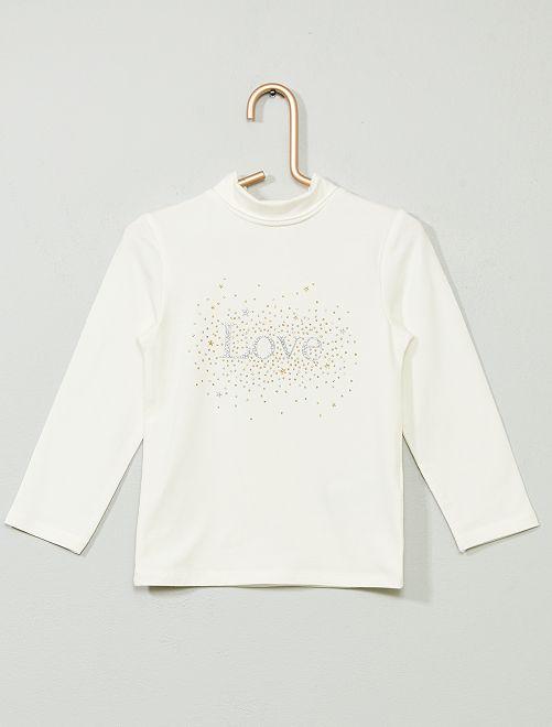 Camiseta de cuello alto estampada de algodón orgánico                                                                             BLANCO